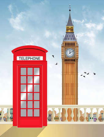 illustration of the red telephone box and the big bang in London