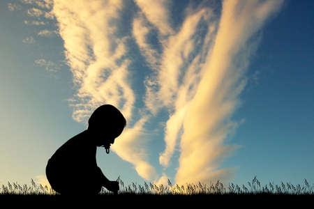 child in the meadow at sunset Stock Photo