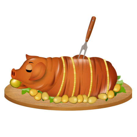 illustration of roast pork Фото со стока - 126911845