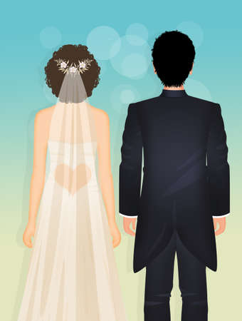 illustration of the bride and groom going to the altar