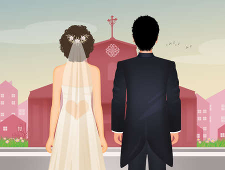 the bride and groom get married in the church