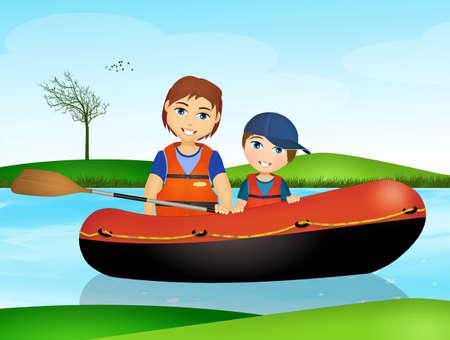 father and son rafting Archivio Fotografico