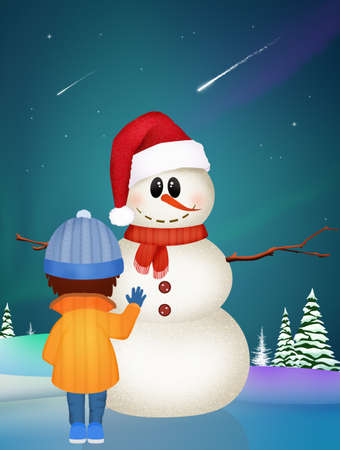 illustration of child and snowman in the snow Фото со стока
