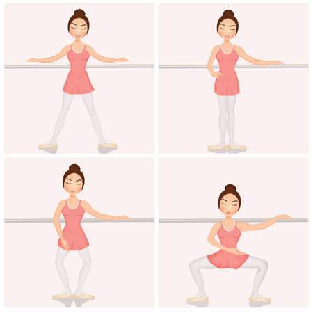 illustration of dance grand plie position Banco de Imagens