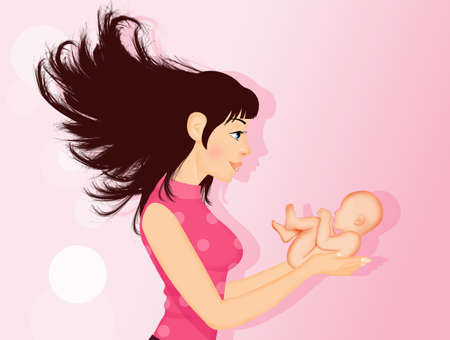 illustration of girl with baby born in her hands Zdjęcie Seryjne