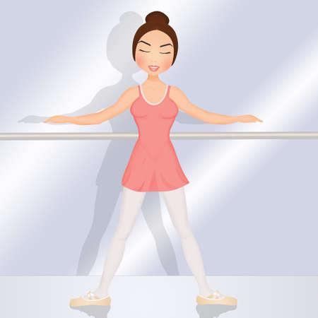 illustration of girl in the ballet school