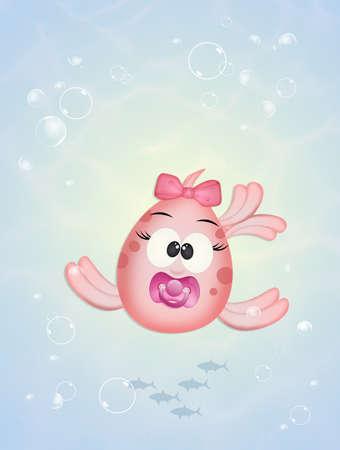 baby female fish in the ocean
