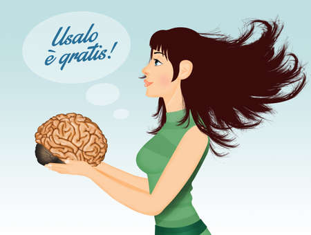 illustration of girl holds a brain and recommends using it