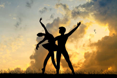 ballet dancers couple at sunset
