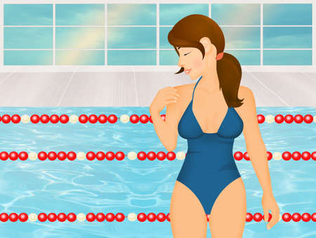 illustration of girl in swimming pool Imagens