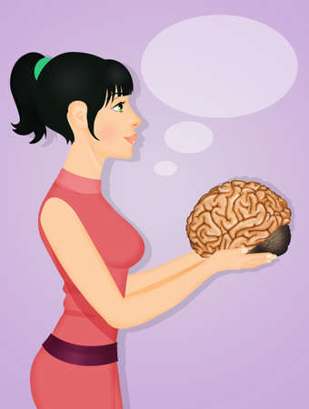 illustration of girl with brain