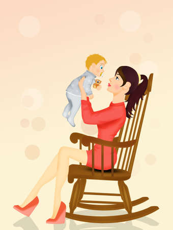 illustration of mom cuddles the baby Фото со стока