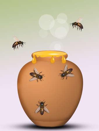 bees on the honey jar