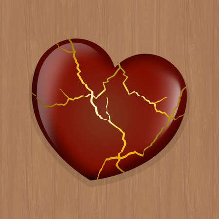 illustration of kintsugi heart
