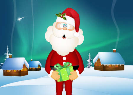 illustration of Santa Claus with present