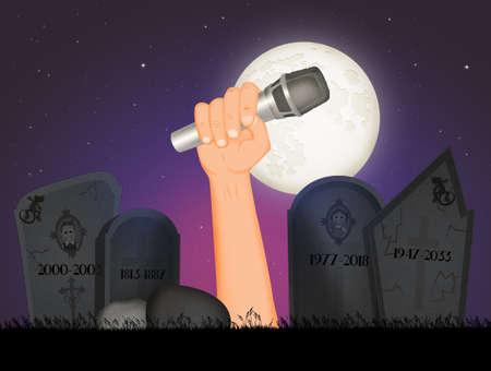 illustration of concert on Halloween night Stok Fotoğraf