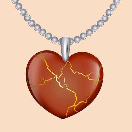 necklace pendant with kintsugi
