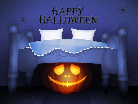 pumpkin under the bed in the Halloween night Reklamní fotografie