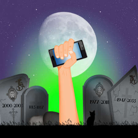 halloween illustration with his mobile phone hand