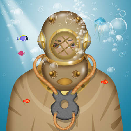 illustration of the diver