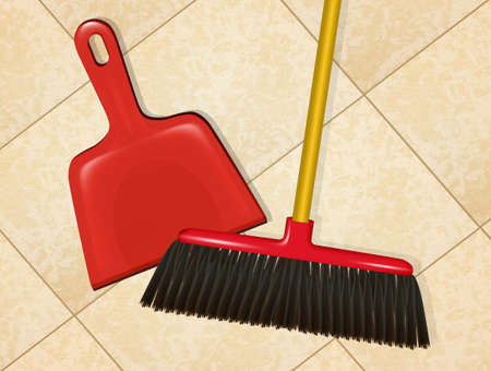 illustration of broom with dustpan on the floor