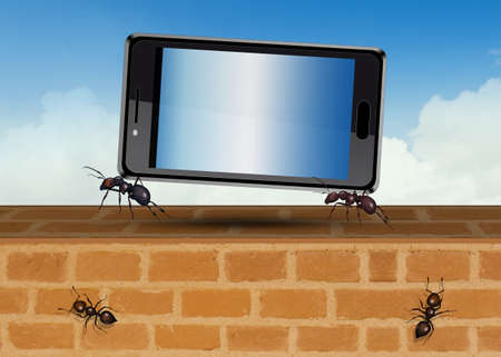 illustration of ants carry a cellphone