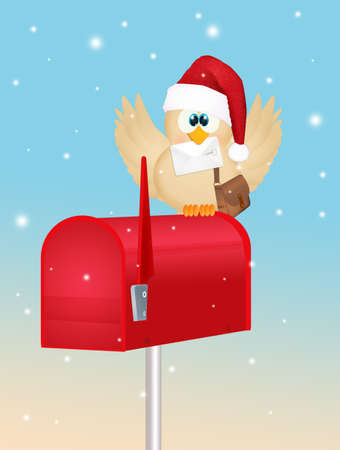 illustration of bird with letter of Santa Claus