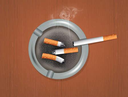 ashtray with cigarettes Stock Photo