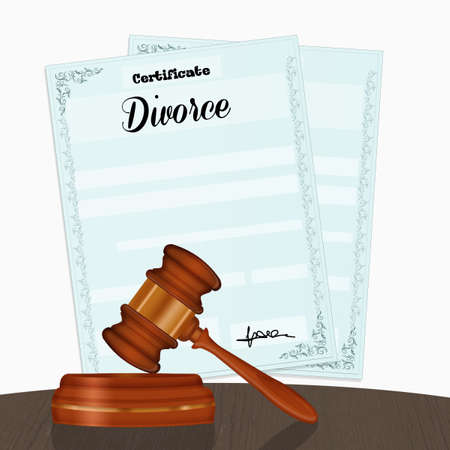 illustration of divorce papers