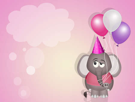 funny invitation for birthday party with baby elephant with balloons Фото со стока