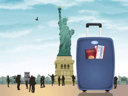 suitcase with documents and passports for a trip to New York Stockfoto