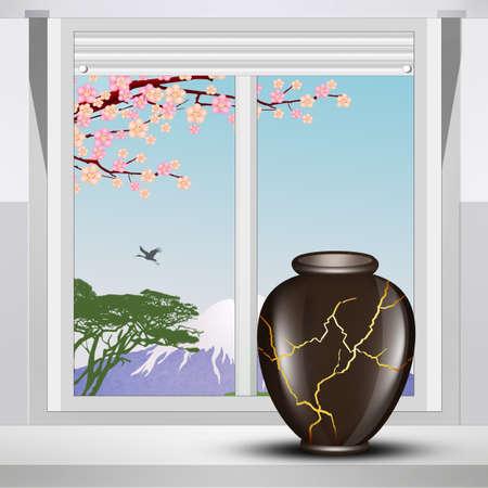 illustration of kintsugi jar on the window