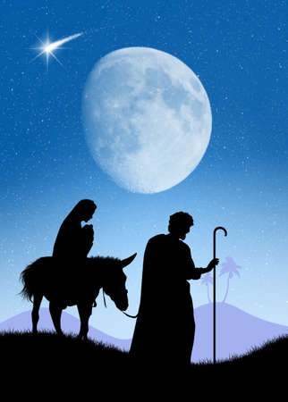 Joseph and Mary with Jesus on the donkey