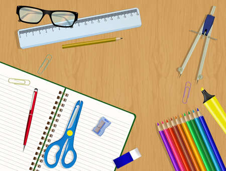 illustration of school items Фото со стока