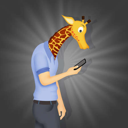 concept of a man with a giraffe's neck because he is on his cell phone Stockfoto