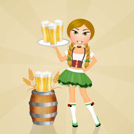 Oktoberfest girl with beer Stock Photo