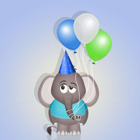 baby elephant with balloons on postcard for birthday party Фото со стока