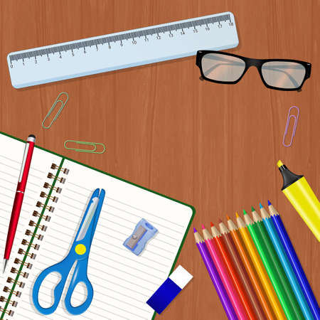 illustratio of school items on the table