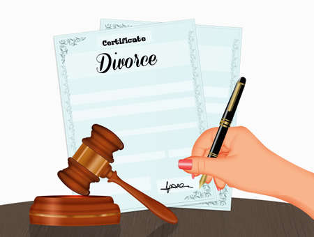 illustration of sign the divorce practices decree