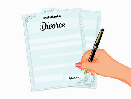 sign the divorce practices Фото со стока - 130866542