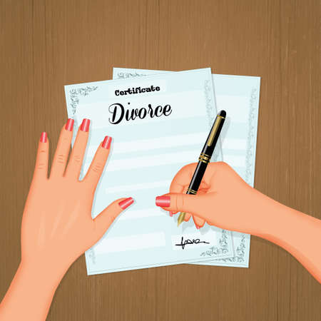 woman signs divorce papers Фото со стока - 130866579
