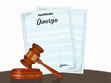 illustration of divorce practices Фото со стока - 130866571