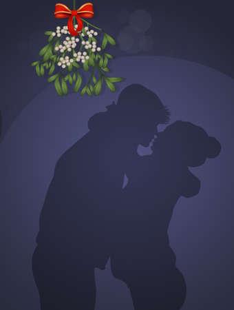 couple kissing under the mistletoe