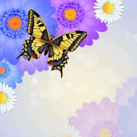 illustration of the swallowtail  on flowers Zdjęcie Seryjne