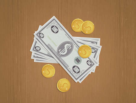 illustration of money on the table