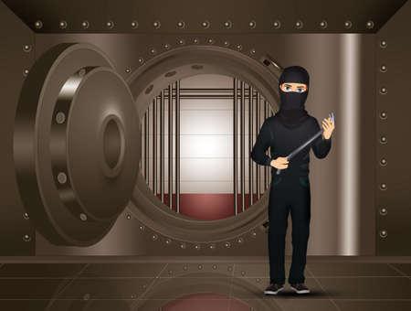 thief in the bank's bunker Zdjęcie Seryjne - 132000867