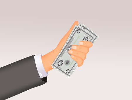 illustration of man's hand with money Stock Illustration - 132000871