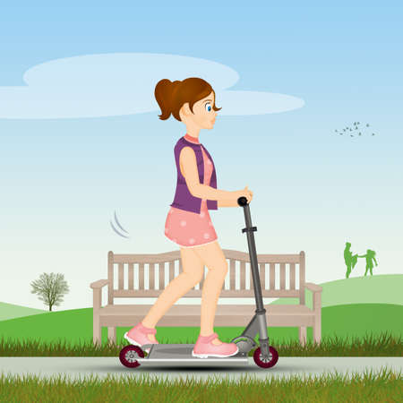little girl on the scooter Zdjęcie Seryjne - 132000874