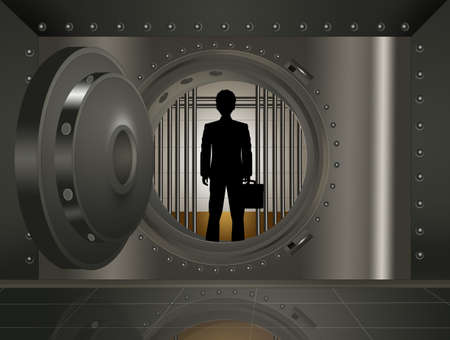businessman in the bank security safe