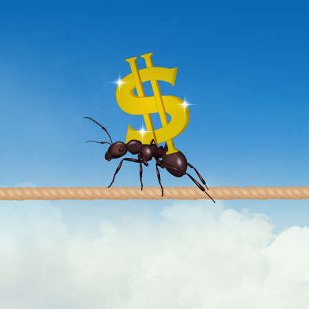 the ant carrying the dollar sign Zdjęcie Seryjne - 131448723